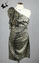 Tygrované šaty na jedno rameno vel 38, 38