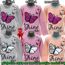 Dokonalé měnící triko s motýlem 128-164, vyprodej, 128 / 134 / 140 / 158 / 164