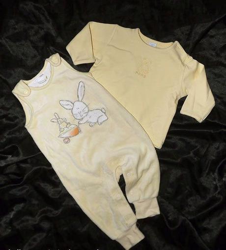 Žlutý komplet sametových kalhot a bavlněné mikiny, h&m,68