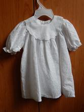Bílé plátěné šatečky na křtiny, 68