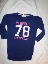 Modrofialové dlouhé tričko s číslem - nabírané, h&m,146