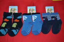 3x oteplené  protizkluzové ponožky s dino na 0-3r,, 62 - 92