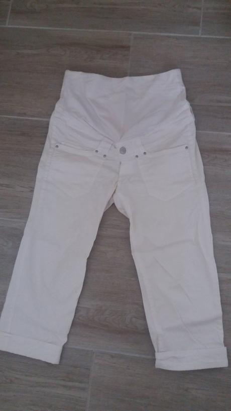 Bílé těhotenské kalhoty, 38