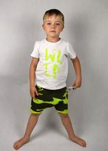Letní set pro kluka neon army baggy šortky +tričko, 92 - 158