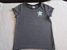 Pěkné černé bavl. tričko s bílými proužky, c&a, c&a,146