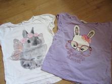 2x tričko s králičkem, h&m,110