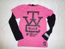 Luxusní růžovo černé tričko - dva v jednom, h&m,146 / 152