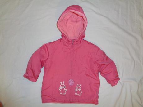 Super šusťáková růžová přechodová bunda - marťánci, berti,86