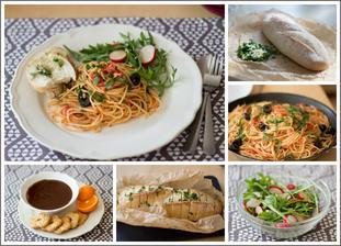 Spaghetti alla puttanesca, salát, česnekový chléb, čokoládové ganache