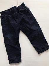 Modré podšité manžestrové kalhoty -  9-12 měs., marks & spencer,80