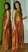 Slavnostní sváteční společenské šaty medové barvy, 36