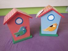 2x pokladnička dřevo, ptáček, domeček,