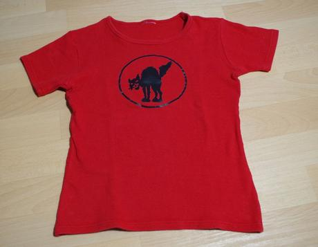 Tričko s kr. červené kočka , s
