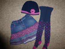Kytičkový komplet - sukně, čepička, punčošky, f&f,104