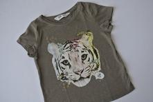 Hnědé tričko s tygrem, h&m,104