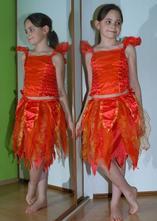 Karnevalové dvoudílné šaty čertice, ohnivá víla...,