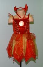 Karnevalové šaty čertice + čelenka s rohy,
