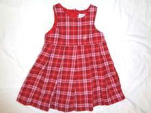 Krásné červenobílé káro skládané šaty, h&m,92