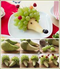 Ovocný ježek (jenom horní fotka je moje, spodní část je stažená z internetu)