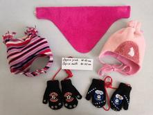 Zimní dívčí set - čepice, nákrčník, rukavice, 104
