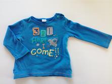 Modré tričko s potiskem zn.f&f, vel. 9-12m, f&f,74