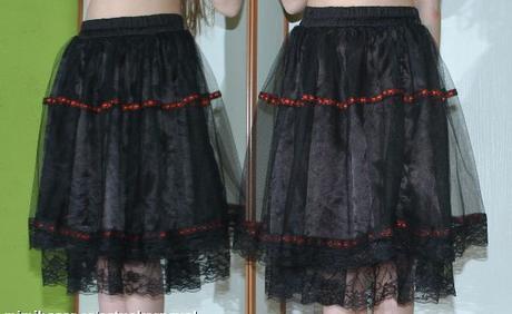Černá saténová společenská sukně s tylem, 134