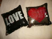 Polštář otáčecí obracecí flitry srdce love, 40,40