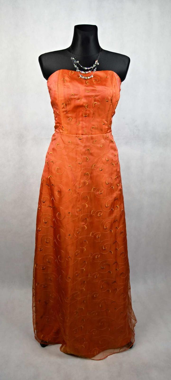 Hnědé dlouhé společenské šaty vel 46 c12c54d059