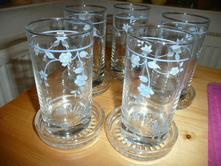 5ks skleničky tácek kytičky,