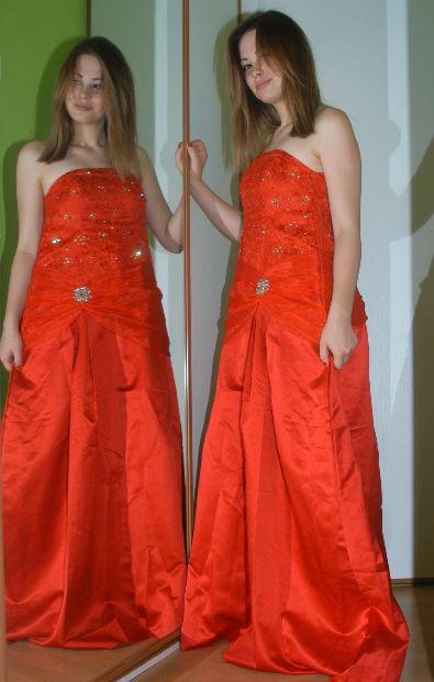 Červené dlouhé společenské plesové šaty, 42