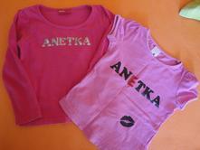 """2x tričko s nápisem """"anetka"""", okay,104"""