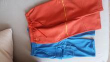 Teplejší tepláky - modré + oranžové, 98