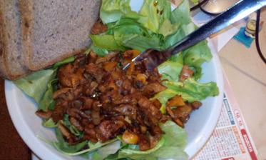 Hliva restovana na cesneku a jarni cibulce :) s uzenou paprikou a zel.salatem