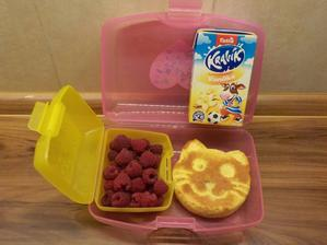 """kočička = domácí """"Brumík"""", maliny od tety ze zahrádky, vanilkové mléko"""