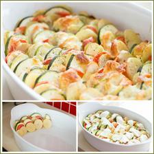 Zapečená zelenina (brambory, cukety, rajčata) s mozzarellou