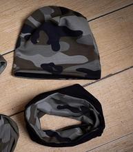 Jarní podzimní army čepice  nákrčník, 92 - 122