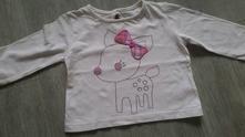 Smetanové bavlněné tričko se srnkou a mašlí, f&f,74
