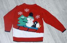 Vánoční bavlněný svetr vel. 1,5-2 roky, 92