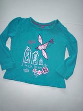Dívčí tyrkysové tričko s ptáčkem, lupilu,86