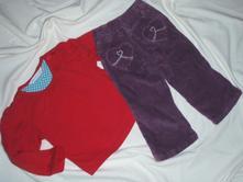 Červené tričko a fialkové manžestráky, john lewis,80