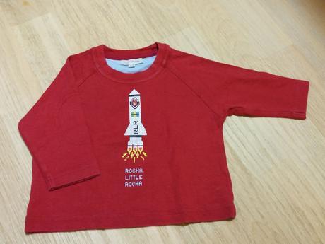 Tričko s dl. červené s raketou, rocha.little.rocha,74
