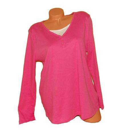 Růžové triko dlouhý rukáv, kamínky c&a vel.xl , c&a,xl