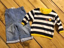 Pruhovaný svetřík + podšité džíny next, next,62