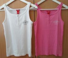 Růžové bílé tričko tílko top, kenvelo,m