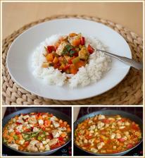 Krůtí kostky se zeleninou, rýže