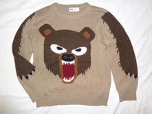 Luxusní nekousavý svetr s medvědem, h&m,122