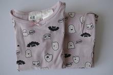 Růžové pyžamo duchové a netopýři, h&m,104