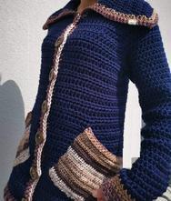 Háčkovaný svetr s límcem, l - xxxl