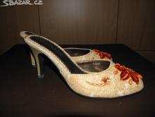 Krémovo-oranžové pantofle na podpatku, 36