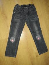 Dívčí černé džíny kevelo s kytičkami, vel 4-5 let, kenvelo,110